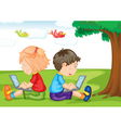 kids with laptop under a tree vector image
