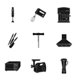Kitchen set icons in black style Big collection vector image