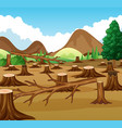 mountain scene with deforestation view vector image