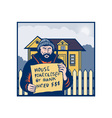 Homeless man or hobo sign foreclosed house vector image vector image