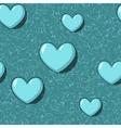 Elegant seamless with blue cartoon hearts vector image