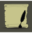 old paper and feather vector image