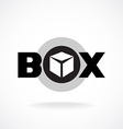 Box word sign with simple image of a box vector image