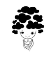 Cute girl with cloud hairstyle sketch for your vector image