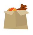 cardboard box with childish toys isolated cartoon vector image