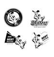Vintage skateboarding labels logos and badges vector image