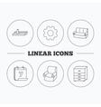 Sofa wall shelf and armchair icons vector image