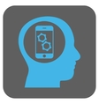 Smartphone Mind Control Rounded Square Icon vector image