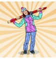 Pop Art Happy Woman with Ski on Winter Holidays vector image