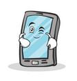 Wink face smartphone cartoon character vector image