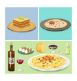 cartoon italy food cuisine delicious homemade vector image vector image