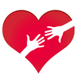 Hands reaching each other in heart symbol vector image vector image