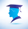 young man silhouette with graduation cap vector image vector image