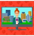 Television set broadcasting interview vector image vector image