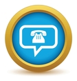 Gold telephone conversation icon vector image