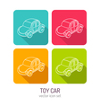 line art toy car icon set in four color variations vector image