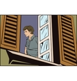 People in retro style The man in the window vector image