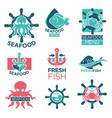 seafood colorful logo labels flat set on white vector image