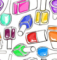 Seamless pattern of nail polish bottles vector image