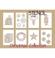 Set of Stencil design templates Christmas vector image