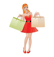 Shopping girl with red hair2 vector image