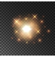 Glittering golden star light sparks vector image