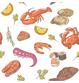 sea food hand drawn seamless pattern background vector image