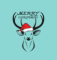 Deer merry christmas vector image