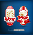 set of labels for popcorn vector image