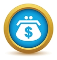 Gold dollar purse icon vector image