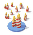 low poly christmas candles vector image