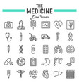 medicine line icon set medical symbols collection vector image
