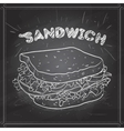 sandwich scetch on a black board vector image