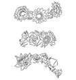 set of black and white contour drawing of flower vector image