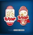 set of labels for popcorn vector image