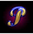 golden and blue letter p vector image