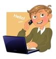 Blond boy with phone and laptop vector image vector image