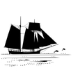 dolphins and tall ship vector image