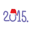 new year 2015 with red hat color vector image