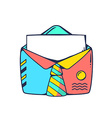 red and blue open envelope with tie on wh vector image