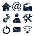 Home internet icons set grunge vector image