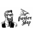 Hipster shave haircut in the BarberShop vector image