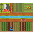 Aerial scene of farmlands with crops and barn vector image