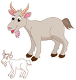 Cute goat cartoon vector image