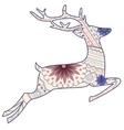 Jumping vintage deer vector image