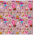 seamless coffee and tea pattern vector image