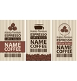 label coffee with coffee beans and cup vector image