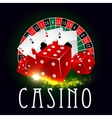 Casino wheel of fortune poker cards poster vector image