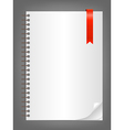 Notebook with blank white sheet vector image vector image