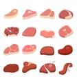 Steak icons set cartoon style vector image